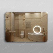 Зеркало 312л2  70 х 100 см с косметическим зеркалом с подсветкой 16х16 см с кнопочным выключателем