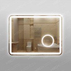 Зеркало 348скл2 с LED подсветкой 9,6 Вт/м 60 х 80 см с сенсорным выключателем и  с встроенным косметическим зеркалом с подсветкой 16х16 см