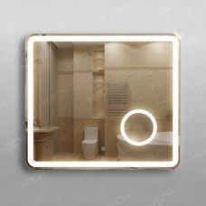 Зеркало 348скл2 с LED подсветкой 9,6 Вт/м 70 х 80 см с сенсорным выключателем и  с встроенным косметическим зеркалом с подсветкой 16х16 см