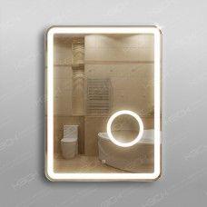 Зеркало 348скл2 с LED подсветкой 9,6 Вт/м 80 х 60 см с сенсорным выключателем и  с встроенным косметическим зеркалом с подсветкой 16х16 см