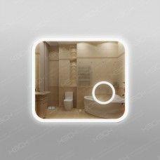 Зеркало 341скл2ч1 с LED подсветкой 9,6 Вт/м 70 х 80 см с сенсорным выключателем, часами и косметическим зеркалом с подсветкой 16х16 см