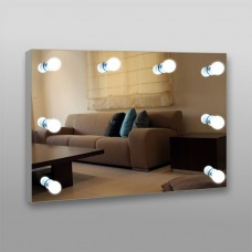 Зеркало 806 гримерное 70 x 100 см с кнопочным выключателем 8 патронов (без лампочек)