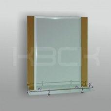 Зеркало 46825в 67х52 см фацет с бронзовыми вставками + полка 50 см пластиковым бортиком