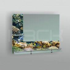 Зеркало 46656  53х68 см декорированное рыбы полка 60 см с бортом + полка 20 см с бортом