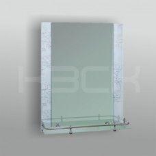 Зеркало 46715в 67х52 см  вставки цветы на белом фоне + полка 50 см с пластиковым бортиком