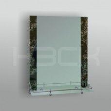 Зеркало 46725в 67х52 см  вставки цветы на черном фоне + полка 50 см с пластиковым бортиком
