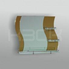 Зеркало 46201 67.5х74 см с бронзовыми вставками + полка 60 см с бортом+ две полки 20 см с бортом