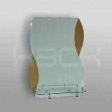Зеркало 46221в 67.5х48 см с бронзовыми вставками + полка 40 см пластиковым бортиком