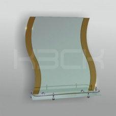 Зеркало 46222в 67.5х58 см с бронзовыми вставками + полка 50 см пластиковым бортиком