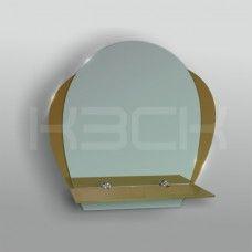 Зеркало 46240а 48х48 см с бронзовыми вставками + полка 40 см тонированное стекло