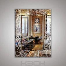 Зеркало  45411 80х60 см фацет + декор зеркало серебро