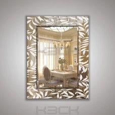 Зеркало  45412 80х60 см фацет + декор зеркало серебро