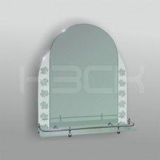Зеркало 46125в 65х52 см с матовыми вставками (листья) + полка 50 см пластиковым бортиком