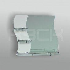 Зеркало 46135 67,5х74 см с матированное + полка 60 см с бортом+ две полки 20 см с бортом