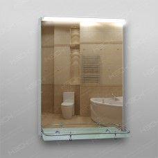 Зеркало 215в с LED подсветкой 9,6 Вт/м 70 x 50 см с кнопочным выключателем + полка 50 см пластиковым бортиком