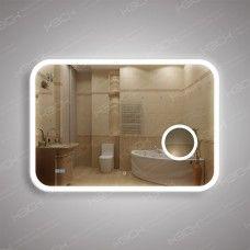 Зеркало 341скл2ч1 с LED подсветкой 9,6 Вт/м 70 х 100 см с косметическим зеркалом с подсветкой 16х16 см и встроенными часами с сенсорным выключателем