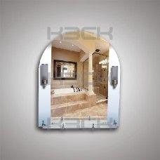 Зеркало 46140в 79х65 см с матовыми вставками + полка 60 см пластиковым бортиком + светильник Н240 2шт