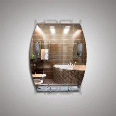 Зеркало 46207в 80х65 см с бронзовыми вставками + полка 50 см пластиковым бортиком + светильник Н240 2шт