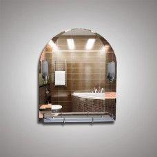 Зеркало 46214в 79х67 см с бронзовыми вставками + полка 60 см пластиковым бортиком + светильник Н240 2шт