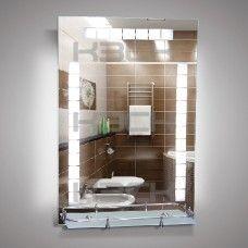 Зеркало 46506в 80х55 см с внутренней подсветкой 12 W + 20W + 20W  с полкой 50 см  с пластиковым бортиком