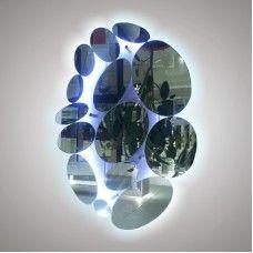Зеркало 281  70x70 см ОВАЛЫ с фоновой подсветкой 9,6 Вт/м на дистанционных держателях без выключателя