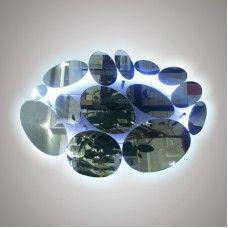 Зеркало с обработкой 850x615мм ОВАЛЫ с подсветкой с сенсорным выключателем