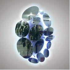 Зеркало с обработкой 900x800мм ОВАЛЫ с цветной подсветкой