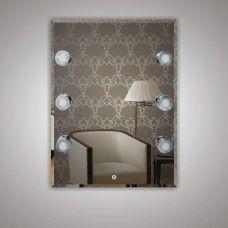 Зеркало 7050806 80 х 60 гримерное с фацетом 6 светодиодных фонарей по 4 Вт +  сенсорный выключатель