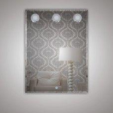 Зеркало 7070806 80 х 60 гримерное с фацетом 3 светодиодных фонаря по 4 Вт +  сенсорный выключатель