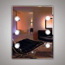 Зеркало 7100806 80 х 60 гримерное с фацетом 6 светодиодных фонарей по 4 Вт +  сенсорный выключатель с диммером