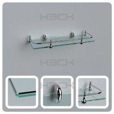 Полка 40 см прозрачная стекло 6 мм + ограничитель