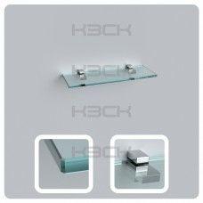 Полка 40 см прозрачная с полированной кромкой (стекло 10 мм 45032 и крепление 16-127)