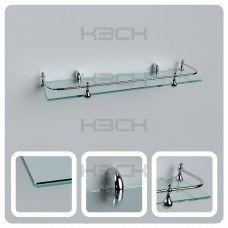 Полка 50 см прозрачная  стекло 6 мм + ограничитель
