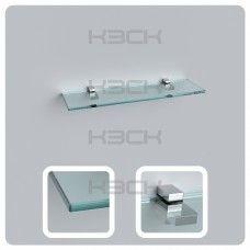 Полка 50 см прозрачная с полированной кромкой (стекло 10 мм 45033 и крепление 16-127)