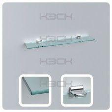 Полка 80 см прозрачная с полированной кромкой (стекло 10 мм 45036 и крепление 16-133),