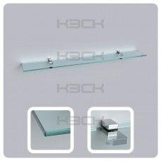 Полка 100 см прозрачная с полированной кромкой (стекло 10 мм 45038 и крепление 16-127)