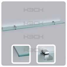 Полка 120 см прозрачная с полированной кромкой (стекло 10 мм 45039 и крепление 16-127)