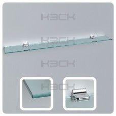 Полка 120 см прозрачная с полированной кромкой (стекло 10 мм 45039 и крепление 16-133)