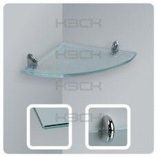 Полка угловая 20 см прозрачная с полированной кромкой стекло 8 мм