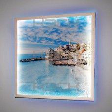 Картина с белой подсветкой в рамке МДФ 100х90 см рисунок 6310 с фоновой синей подсветкой