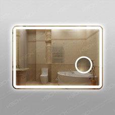 Зеркало 348ск2л2о1  70 х 100 см с двойным сенсорным выключателем,с антизапотеванием 25х50см и косметической линзой