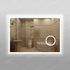 Зеркало 347ск2л2о1  70 х 100 см с двойным сенсорным выключателем,с антизапотеванием 25х50см и косметической линзой