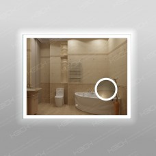 Зеркало 347скл2 с LED подсветкой 9,6 Вт/м 70 х 90 см с косметическим зеркалом с подсветкой 16х16 см с сенсорным выключателем
