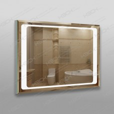 Зеркало 790 с LED подсветкой 9,6 Вт/м 60 х 80 см с фацетом, с кнопочным выключателем, с закрытой тыльной стороной, универсальное крепление