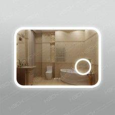 Зеркало 341л2ч3 с LED подсветкой 9,6 Вт/м 70 х 100 см с косметическим зеркалом с подсветкой 16х16 см и встроенными часами с сенсорным выключателем