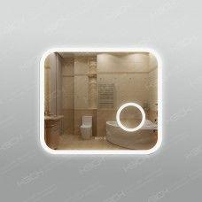 Зеркало 341л2ч3 с LED подсветкой 9,6 Вт/м 70 х 80 см с сенсорным выключателем, часами и косметическим зеркалом с подсветкой 16х16 см